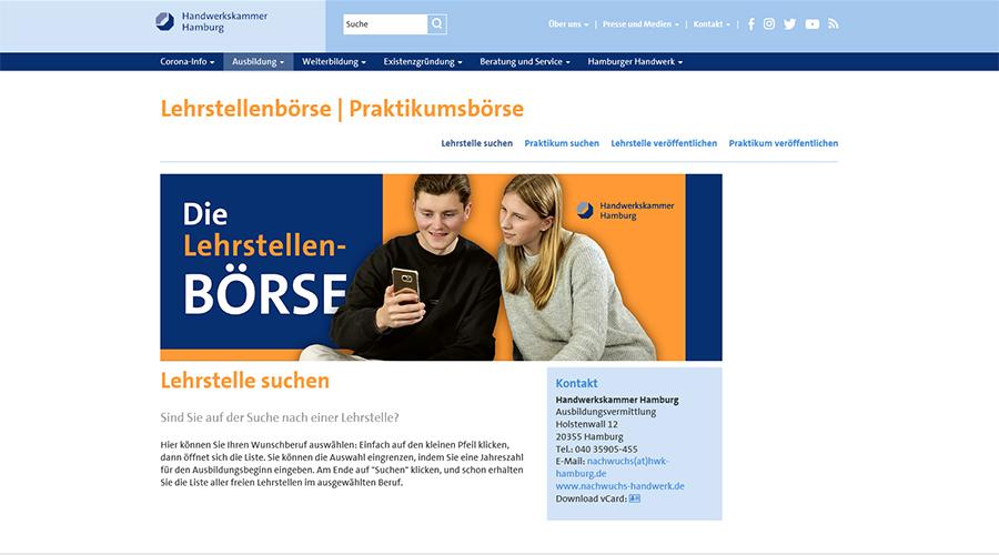 Das Bild zeigt einen Screenshot der Website der Handwerkskammer Hamburg