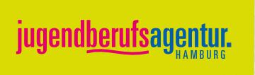 das Bild zeigt das Logo der Jugendberufsagentur. Der Name ist zweifarbig ausgeschrieben und auf gelben Grund