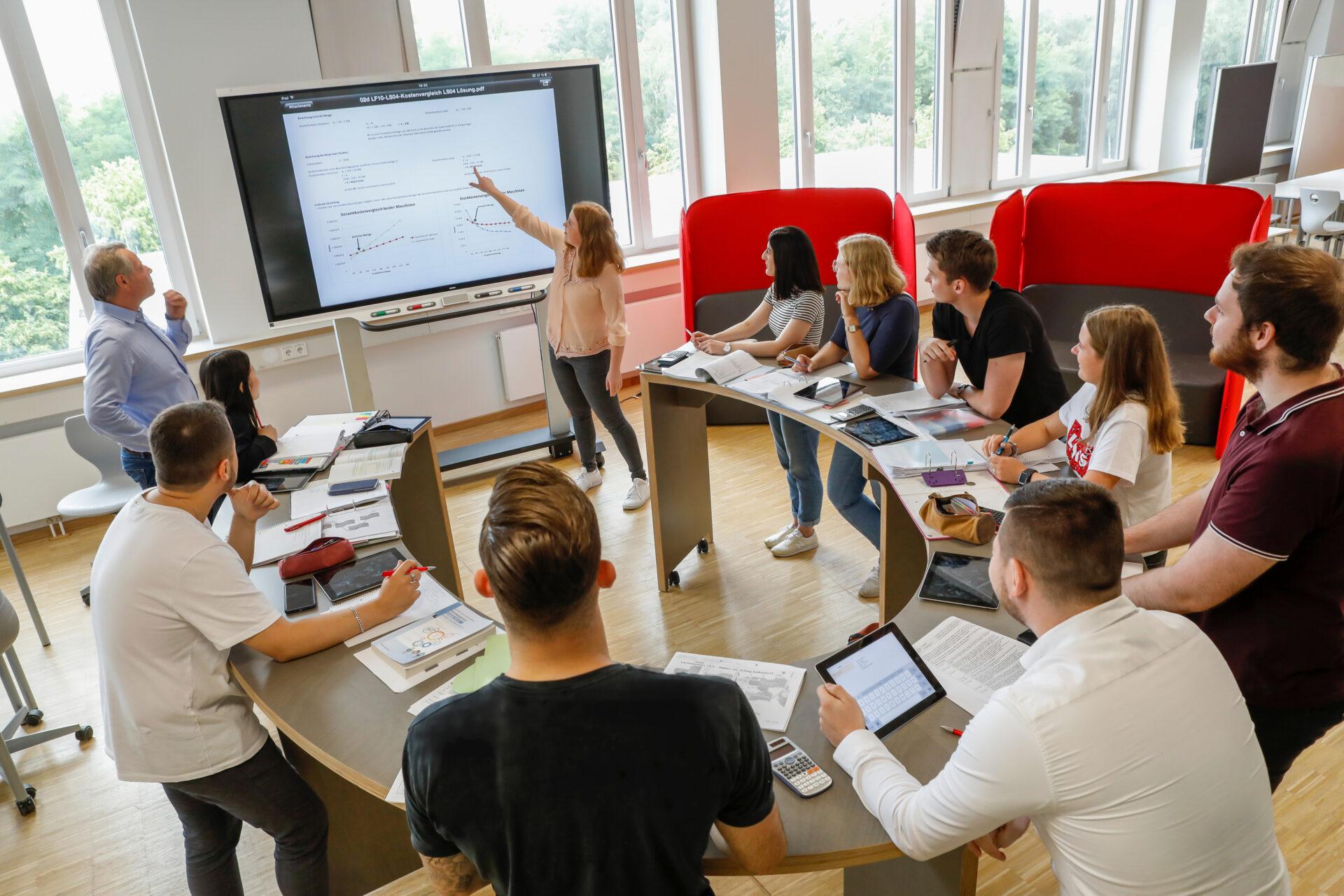 das Bild zeigt 7 Schüler und Schülerinnen in einem Halbkreis an Tischen sitzen und eine Lehrerin davor an einer elektronischen Wandtafel